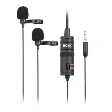 Двойной петличный проводной микрофон Boya BY-M1DM